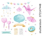 watercolor baby shower set | Shutterstock . vector #372147448