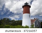 This is Nauset Light House Eastham, Massachusetts - stock photo