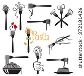 collection of fork and dish... | Shutterstock .eps vector #372181426