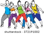 zumba dancers illustration | Shutterstock .eps vector #372191002