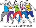 zumba dancers illustration | Shutterstock .eps vector #372191002