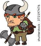 cartoon viking warrior... | Shutterstock .eps vector #372197476