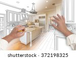 Stock photo male hands sketching with pencil a custom kitchen with photo showing through 372198325