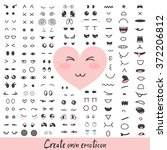 set of cute cartoon emoji faces