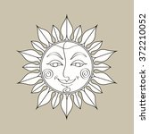 sun symbol. coloring book page. ... | Shutterstock .eps vector #372210052