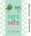 cute couple bird save the date... | Shutterstock .eps vector #372217582