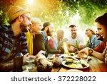 diverse yard summer friends fun ... | Shutterstock . vector #372228022