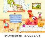 red hen  dog  cat and duck   Shutterstock . vector #372231775