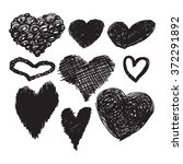 collection of black hand drawn... | Shutterstock .eps vector #372291892