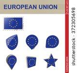 european union flag set  flag... | Shutterstock . vector #372305698