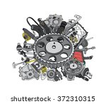 many new auto parts for... | Shutterstock .eps vector #372310315