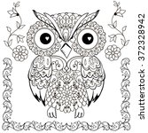 decorative owl with floral... | Shutterstock .eps vector #372328942
