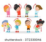 illustration of kids exercising ... | Shutterstock .eps vector #372330046
