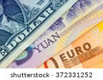 u.s. one dollar bill  five yuan ... | Shutterstock . vector #372331252