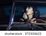 beautiful  woman paint her lips ... | Shutterstock . vector #372333622