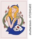 alice in wonderland drinking... | Shutterstock .eps vector #372341602