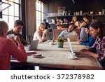 interior of coffee shop with... | Shutterstock . vector #372378982