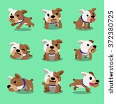 cartoon character bulldog poses | Shutterstock .eps vector #372380725