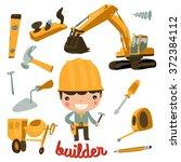 builder boy. carpenter kid.... | Shutterstock .eps vector #372384112