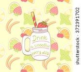 cartoon hand drawn mason jar... | Shutterstock . vector #372391702