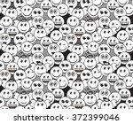 seamless black and white doodle ... | Shutterstock .eps vector #372399046