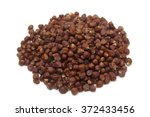 Small photo of Grains of paradise (Aframomum melegueta) on white background