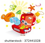 opened suitcase luggage  from... | Shutterstock .eps vector #372441028