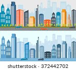 flat designed banners  big city ... | Shutterstock .eps vector #372442702