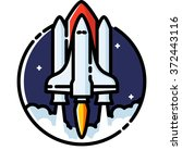 space shuttle launch  colored...   Shutterstock .eps vector #372443116