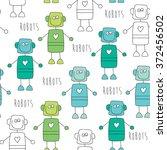 seamless robot pattern vector...   Shutterstock .eps vector #372456502
