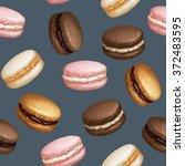 macarons seamless pattern on... | Shutterstock . vector #372483595