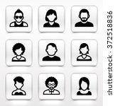 people face set on white square ...   Shutterstock .eps vector #372518836