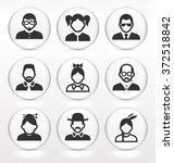 people face set on white round... | Shutterstock .eps vector #372518842