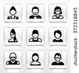 people face set on white square ... | Shutterstock .eps vector #372518845