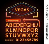 vector orange neon lamp letters ... | Shutterstock .eps vector #372546172