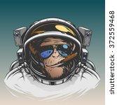 monkey astronaut illustration | Shutterstock .eps vector #372559468