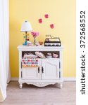Country Living Room Yellow Wal...
