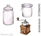 watercolor cooking clipart  ...   Shutterstock . vector #372586342