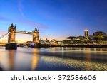 tower bridge at dusk  london...   Shutterstock . vector #372586606