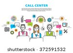 call center concept in thin... | Shutterstock .eps vector #372591532