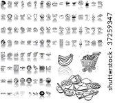 food set of black sketch. part... | Shutterstock .eps vector #37259347