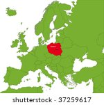 location of poland on the... | Shutterstock . vector #37259617