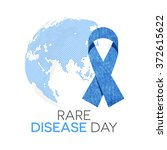 rare disease day emblem. blue... | Shutterstock .eps vector #372615622