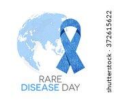 rare disease day emblem. blue... | Shutterstock .eps vector #372615622
