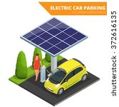 isometric electric car parking. ... | Shutterstock .eps vector #372616135