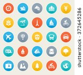 travel icons on color stickers. | Shutterstock .eps vector #372645286