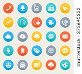 communication icons on color... | Shutterstock .eps vector #372645322
