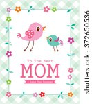 cute bird happy mother's day to ... | Shutterstock .eps vector #372650536