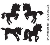 Cartoon Horses Silhouettes On...