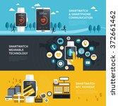 wearable smartwatch functions... | Shutterstock .eps vector #372661462